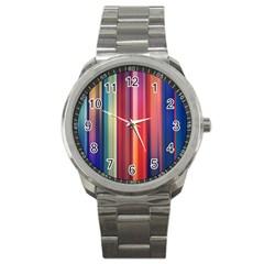 Texture Lines Vertical Lines Sport Metal Watch