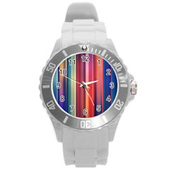 Texture Lines Vertical Lines Round Plastic Sport Watch (L)