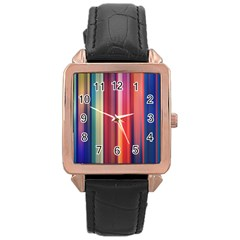 Texture Lines Vertical Lines Rose Gold Leather Watch