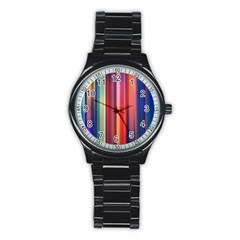 Texture Lines Vertical Lines Stainless Steel Round Watch