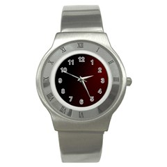 Abstract Dark Simple Red Stainless Steel Watch