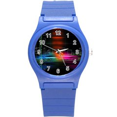 Abstract Binary Round Plastic Sport Watch (S)