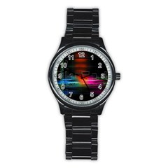 Abstract Binary Stainless Steel Round Watch