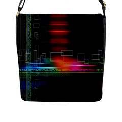 Abstract Binary Flap Messenger Bag (L)