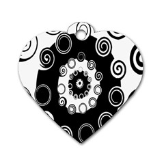 Fluctuation Hole Black White Circle Dog Tag Heart (two Sides)