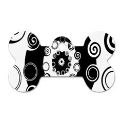Fluctuation Hole Black White Circle Dog Tag Bone (one Side)