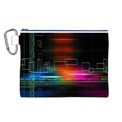 Abstract Binary Canvas Cosmetic Bag (l)