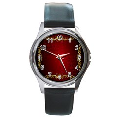 3d Red Abstract Pattern Round Metal Watch