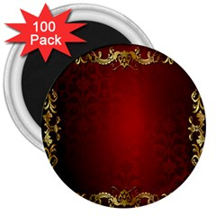 3d Red Abstract Pattern 3  Magnets (100 pack)