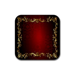 3d Red Abstract Pattern Rubber Coaster (square)