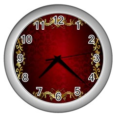 3d Red Abstract Pattern Wall Clocks (silver)