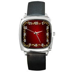 3d Red Abstract Pattern Square Metal Watch