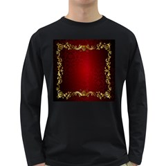 3d Red Abstract Pattern Long Sleeve Dark T-Shirts