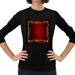 3d Red Abstract Pattern Women s Long Sleeve Dark T Shirts