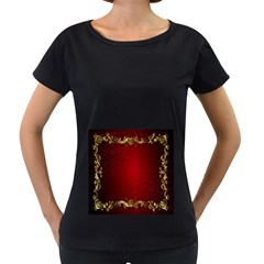 3d Red Abstract Pattern Women s Loose Fit T Shirt (black)