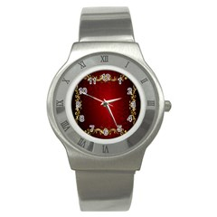 3d Red Abstract Pattern Stainless Steel Watch