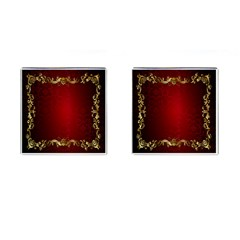 3d Red Abstract Pattern Cufflinks (square)
