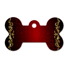 3d Red Abstract Pattern Dog Tag Bone (one Side)