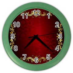 3d Red Abstract Pattern Color Wall Clocks
