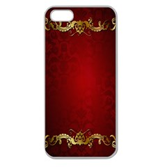 3d Red Abstract Pattern Apple Seamless iPhone 5 Case (Clear)