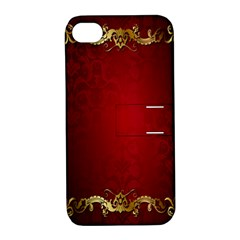 3d Red Abstract Pattern Apple iPhone 4/4S Hardshell Case with Stand