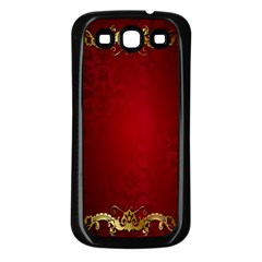 3d Red Abstract Pattern Samsung Galaxy S3 Back Case (Black)