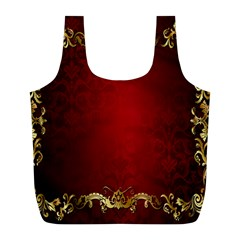 3d Red Abstract Pattern Full Print Recycle Bags (l)