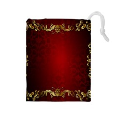 3d Red Abstract Pattern Drawstring Pouches (Large)