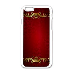 3d Red Abstract Pattern Apple iPhone 6/6S White Enamel Case
