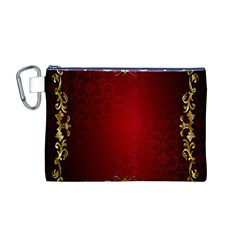 3d Red Abstract Pattern Canvas Cosmetic Bag (M)