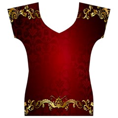 3d Red Abstract Pattern Women s V-Neck Cap Sleeve Top