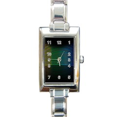 Abstract Multicolor Rainbows Circles Rectangle Italian Charm Watch