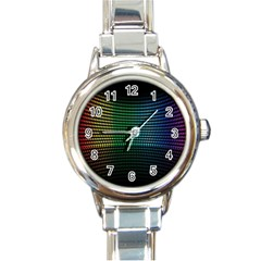 Abstract Multicolor Rainbows Circles Round Italian Charm Watch
