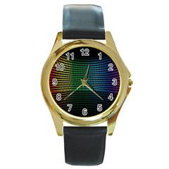 Abstract Multicolor Rainbows Circles Round Gold Metal Watch