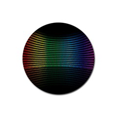 Abstract Multicolor Rainbows Circles Rubber Round Coaster (4 Pack)