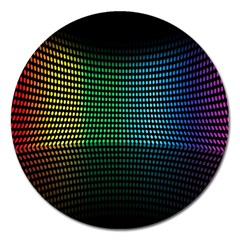 Abstract Multicolor Rainbows Circles Magnet 5  (Round)