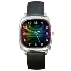 Abstract Multicolor Rainbows Circles Square Metal Watch
