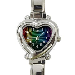 Abstract Multicolor Rainbows Circles Heart Italian Charm Watch