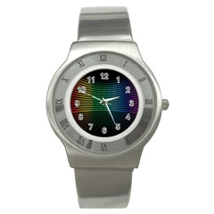 Abstract Multicolor Rainbows Circles Stainless Steel Watch