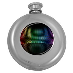 Abstract Multicolor Rainbows Circles Round Hip Flask (5 oz)