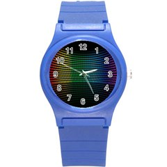 Abstract Multicolor Rainbows Circles Round Plastic Sport Watch (S)