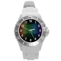 Abstract Multicolor Rainbows Circles Round Plastic Sport Watch (l)