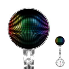 Abstract Multicolor Rainbows Circles Stainless Steel Nurses Watch