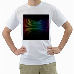 Abstract Multicolor Rainbows Circles Men s T-Shirt (White)