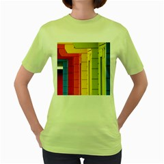 Abstract Minimalism Architecture Women s Green T Shirt