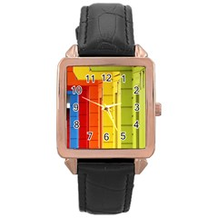 Abstract Minimalism Architecture Rose Gold Leather Watch