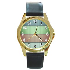 Lines Stripes Texture Colorful Round Gold Metal Watch