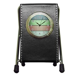 Lines Stripes Texture Colorful Pen Holder Desk Clocks