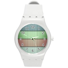 Lines Stripes Texture Colorful Round Plastic Sport Watch (M)