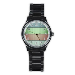 Lines Stripes Texture Colorful Stainless Steel Round Watch